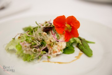"""Pickled things with edible flowers at the """"Preserving FIsh"""" talk with Todd Perrins"""