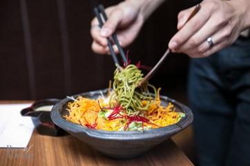 Kinoko salad soba noodle, mushroom, ponzu dressing. An array of crispy textures mixed with the soba noodles.