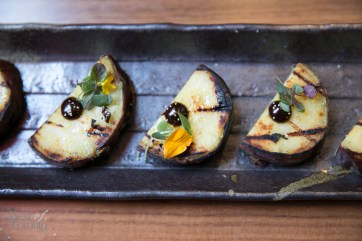 Sweet potatoes with red miso sauce