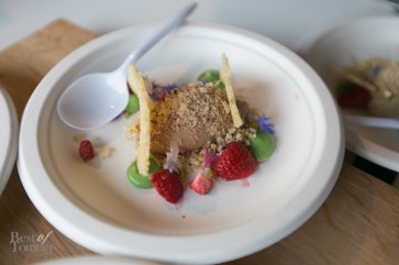 Bosk Restaurant - Foie gras parfait with strawberries, pistachio, melba toast | Photo: Nick Lee