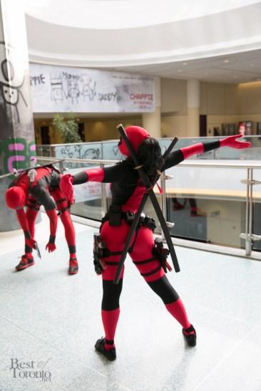 Deadpool stretching