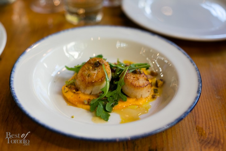 """""""DIVER SCALLOPS"""" with fennel, orange, pine nuts, chili, agrodolce"""