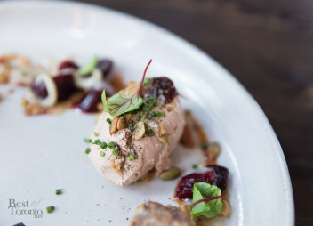 Chicken Liver Mousse - Pickled Cherries, Granola, Marbled Rye | Photo: Nick Lee
