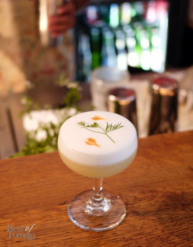The Karate Kid II is a cocktail of nigori sake, jasmine tea-infused gin, yuzu and lime juice, vanilla syrup, egg white, and coriander.