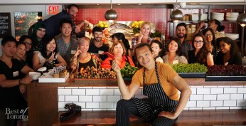 A group shot with Susur Lee and the Veggielicious workshop bloggers