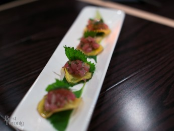 Tuna tartar on beet chips | Photo: Nick Lee