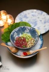 """""""Tuna Tartar"""" with wasabi leaf, avocado, puffed rice, wasabi"""