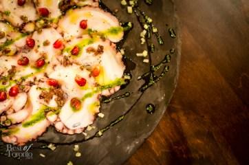 Carpaccio di Polipo - Octopus Carpaccio with Sea Urchin, Pomegranate and Lemon Juice | Photo: John Tan