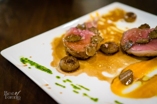 Costole di Cinghiale - Pan Seared Wild Board rack with Butternut Squash, Cipollini in Balsamic Reduction and Black Truffle | Photo: John Tan