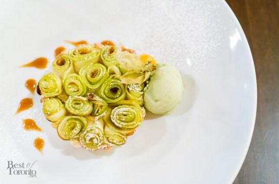 Frangipane Apple Tarte - Frangipane Tarte with Apple Rosettes, Caramel, and Pistachio Gelato | Photo: John Tan