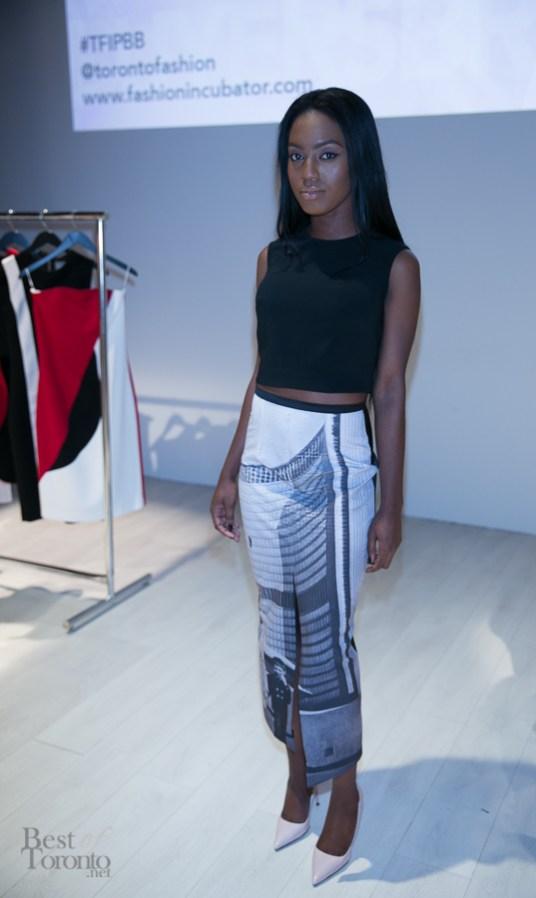 Model wearing design by Miriam Baker (TFI New Labels 2014 winner)