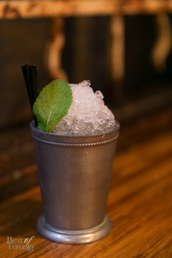 """""""Cuban Julep"""" with Mount Gay Eclipse, Makers Mark, Mint syrup, Lime Juice 