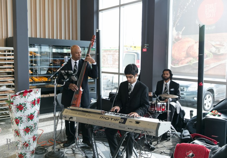A live jazz band at the grand re-opening