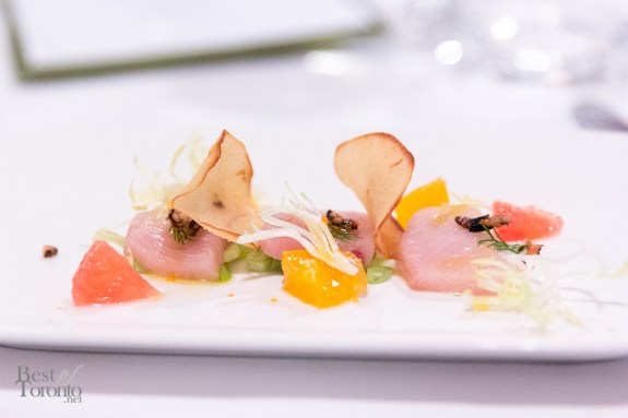 Hamachi Crudo with shaved fennel, fresh citrus, puffed rice and drizzled with olive oil