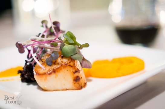 Pan seared sea scallop with heirloom carrot puree, forbidden rice & star anise