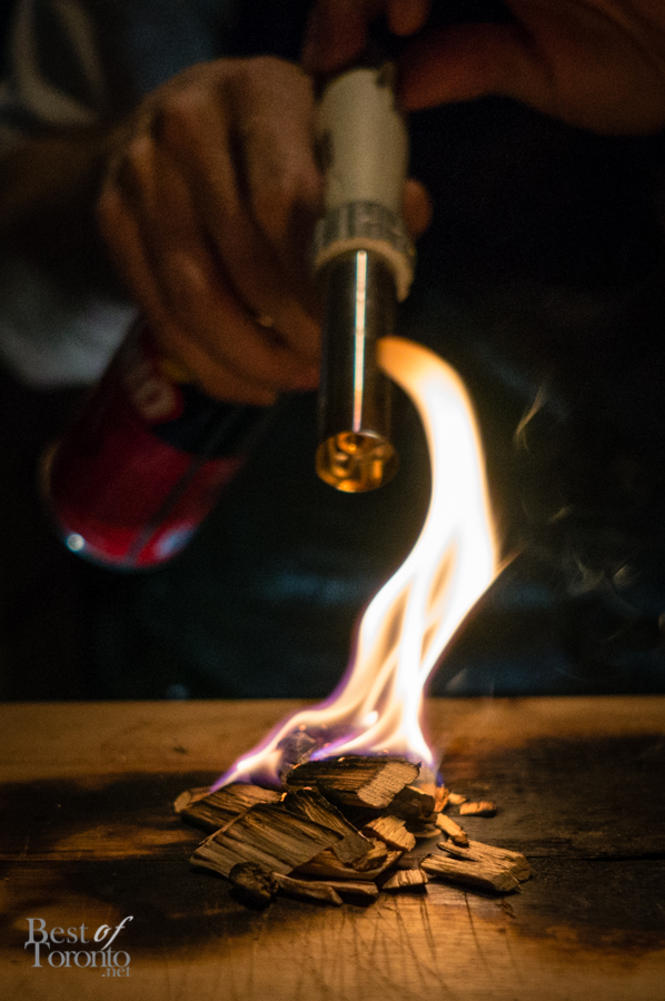 Smoking wood chips for the Blue Hour in Ireland cocktail