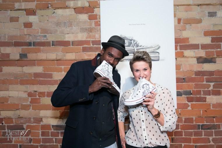Toronto graffiti artist Elicser Elliott with our Natalie Korol and her personalized kicks