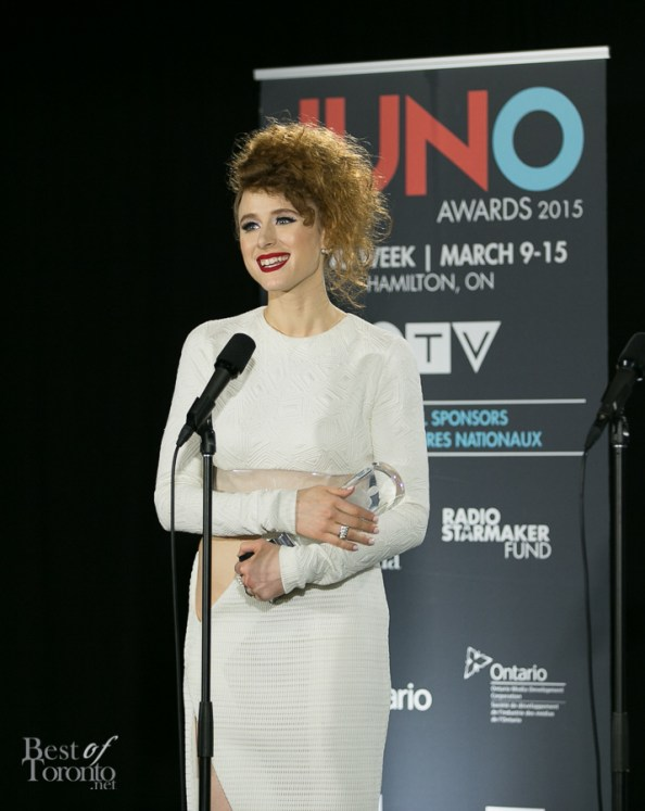 Kiesza on her big night. She won a total of 3 JUNO Awards including Breakthrough Artist of the Year