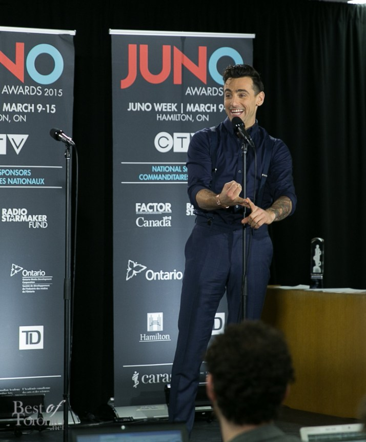 Jacob Hoggard (Hedley), the host of JUNOS 2015
