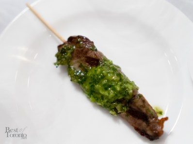 Grilled beef satay with chimichurri