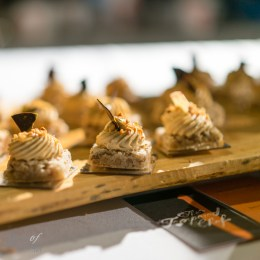Chewy pecan macaron with praline cream and candied hazelnut | Tempered Room