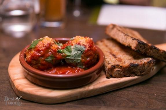 Meatballs, Thuet's sourdough miche, tomato sauce | Photo: Nick Lee