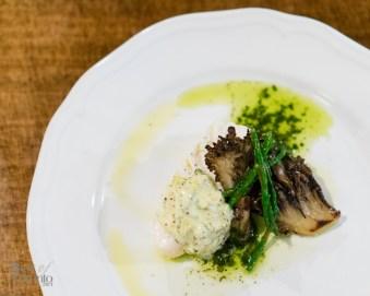 Olive oil halibut with fiddle head aioli