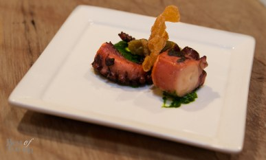 """Octopus"" with chargrilled octopus, choy sum chimichurri, ""yu heung"" eggplant"