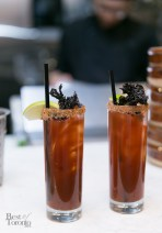 """""""510 Caesars"""" with black garlic, chinese mushroom, infused absolut vodka, R&D chili sauce, hoisin infused worcestershire sauce, lapsang tincture, Mott's Clamato"""