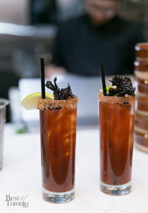 """510 Caesars"" with black garlic, chinese mushroom, infused absolut vodka, R&D chili sauce, hoisin infused worcestershire sauce, lapsang tincture, Mott's Clamato"