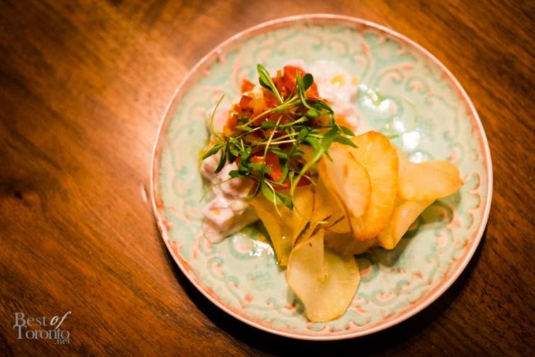 Sashimi grade albacore tuna kinilaw (Filipino style ceviche), coconut, lime, sweet & hot pepper, cilantro, cassava chips | THR & Co