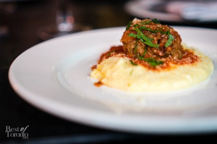 Polenta with meatballs and tomato sugo | Montecito