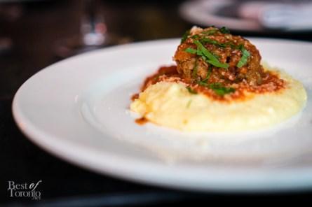 Polenta with meatballs and tomato sugo   Montecito