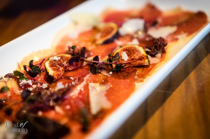 Prosciutto d'anatra | Cured duck breast with fresh figs, onion jam, truffled honey and pecorino romano