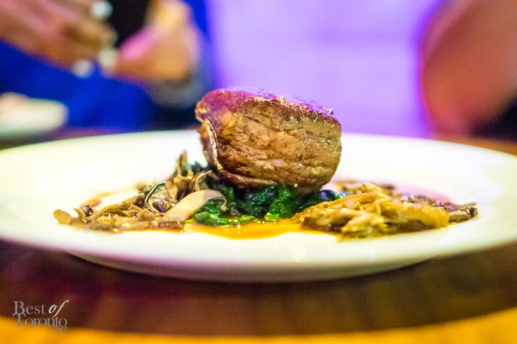 Vitello alla siciliana | Sous vide veal tenderloin with sautéed mushrooms, spinach and marsala sauce