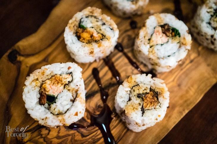 Newfoundland sushi | Atlantic snow crab footman, lemon candied scrunchions, dried caplin, fancy molasses eel sauce