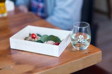Betel leaf wrap with shrimp paired with Izumi sake