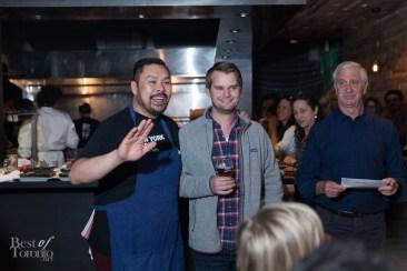 Trevor Lui with a Samuel Adams ambassador