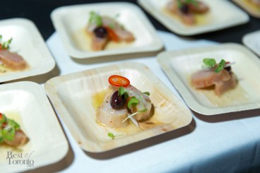 Albacore tuna conserva with olives, red onion, mint, and red chili, Kris, Schlotzhauer, Enoteca Sociale