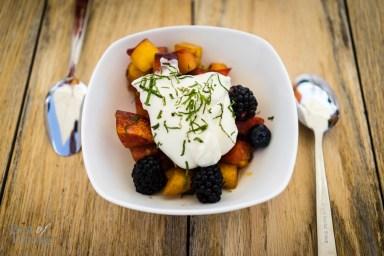 Macerated summer stone fruit & berries, lemon, mint