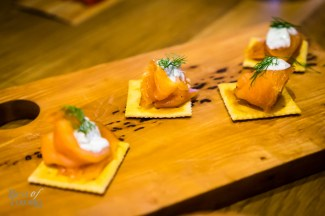 Smoked Wolfhead Salmon with butter brushed saltines and dill crema