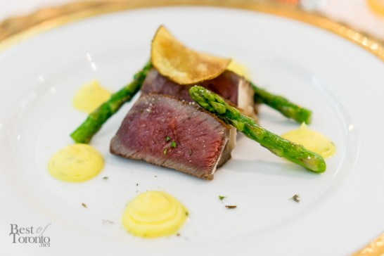 Aged & Smoked   65-day dry aged rib eye basted in smoked butter, lemony béarnaise, potato crisp, summer asparagus