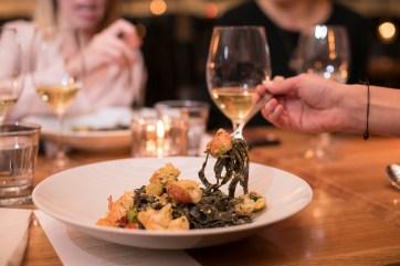 Lobster and Prawn Tagliatelle Nero with pistachio green chili pesto (exclusive to Sherway Gardens)