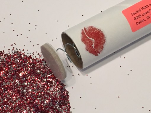 Spring-Loaded Glitter Bomb with a Sealed With the Kiss Sticker option.