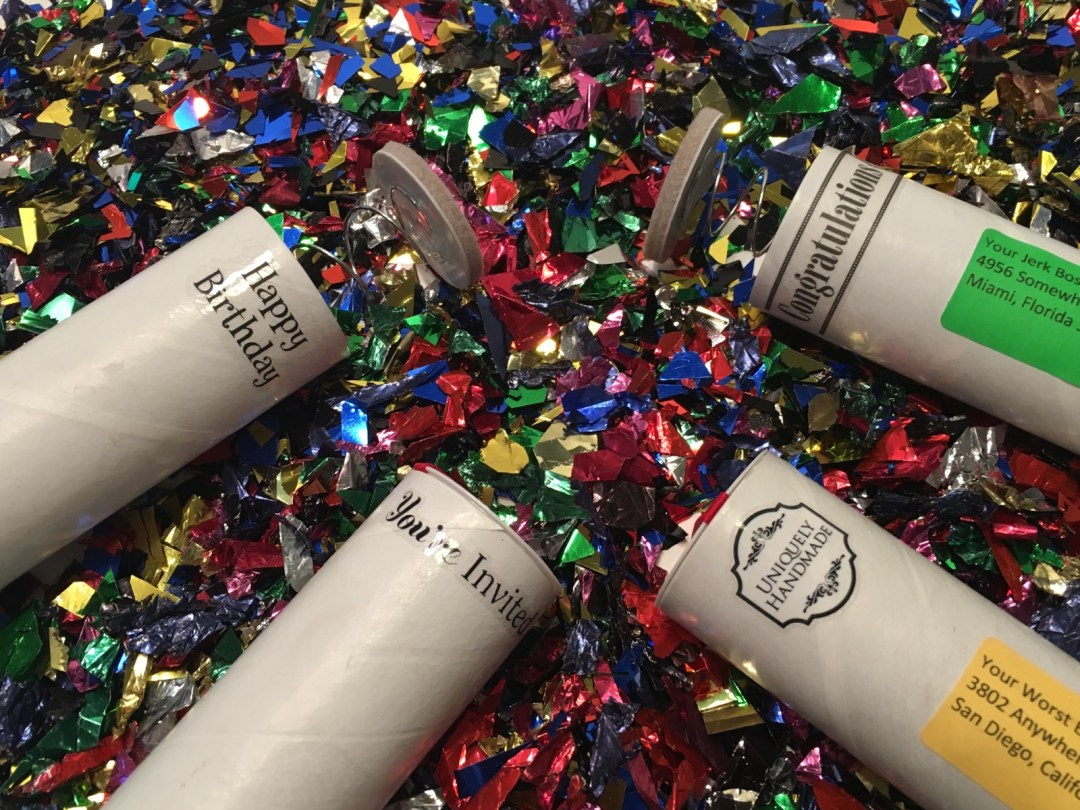 Customize your spring loaded confetti bomb