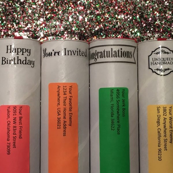 Various spring-loaded glitter bomb options