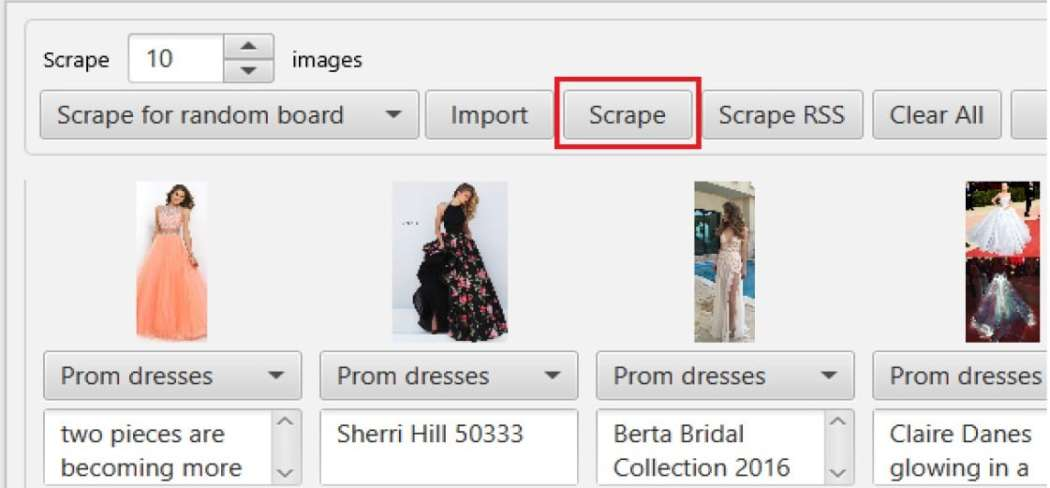 Scraping and pinning unique images