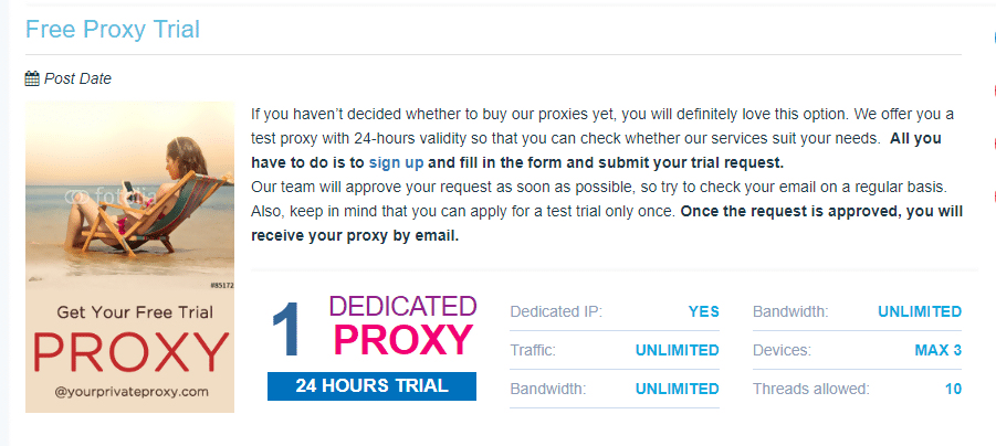 Free proxy Trial for yourprivateproxies