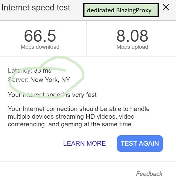 Speed test with blazing proxy