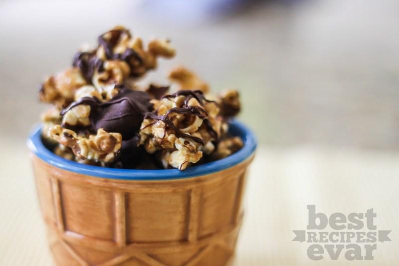 Chocolate Drizzled Caramel Corn